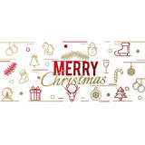 Card from festive gold linear symbols. Happy New Year and Christmas. Vector illustration Stock Photography