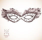 Card with festive venetian mask. And place for your text Stock Photos