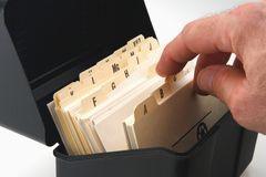 Card File. Alphabetical card file for organizarion of business files stock photo
