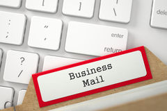 Card File with Inscription Business Mail. 3D. Business Mail written on Red Folder Index on Background of Modern Keyboard. Closeup View. Selective Focus. 3D Royalty Free Stock Photo