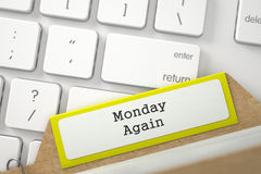 Card File with Monday Again. 3D. stock image