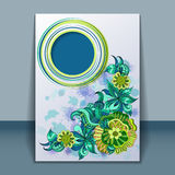 Card with filigree hand-drawing ornaments Stock Photo