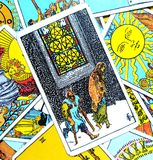 Five V of Pentacles Tarot Card Hard Times Poor Health. This card is about Financial burdens, Recession, Cursed, Bad Luck, Ruin, Bankruptcy and Debts stock image