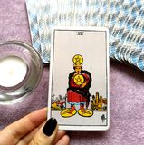 Four IV of Pentacles Tarot Card. This card is about Financial Stability, Security, Savings, Investments, Business and Wealth stock photography
