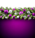 Card with fir branch. Purple card with fir branch and balls. Vector paper illustration Stock Photography