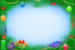Card from fir-tree branches. With toys and gifts Stock Image