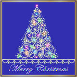 Card with fir tree made ��from precious stones Stock Images