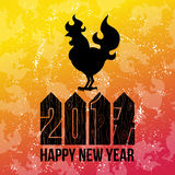 Card Fire Rooster logo, cock silhouette with text happy new year. Fire Rooster logo silhouette with text happy new year Stock Images