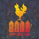 Card Fire Rooster logo, cock silhouette with text happy new year. Fire Rooster logo silhouette with text happy new year Royalty Free Stock Photo