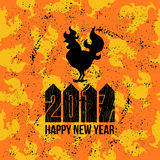 Card Fire Rooster logo, cock silhouette with text happy new year. Fire Rooster logo silhouette with text happy new year Stock Photography