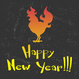 Card Fire Rooster logo, cock silhouette with text happy new year. Fire Rooster logo silhouette with text happy new year Royalty Free Stock Images