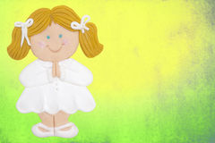 Card first communion girl. Greeting invitation card, first communion, blonde girl,colorful background Stock Photos