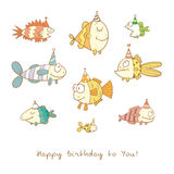 Card with fishes. Birthday card with cute cartoon colorful fishes in party hats. Underwater life. Funny sea animals. Children's illustration. Vector image Stock Photography