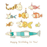 Card with fishes. Birthday card with cute cartoon colorful fishes in party hats. Underwater life. Funny sea animals. Children's illustration. Vector contour Royalty Free Stock Photos