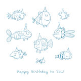 Card with fishes. Birthday card with cute cartoon fishes in party hats. Underwater life. Funny sea animals. Children's illustration. Vector contour image no Stock Images