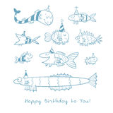 Card with fishes. Birthday card with cute cartoon fishes in party hats. Underwater life. Funny sea animals. Children's illustration. Vector contour image no Stock Photos