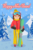 Card flat design vector illustration of young woman from the mountain by skiing equipped. Smiling happy skier girl. Flat design vector illustration Royalty Free Stock Photos