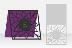 Card with floral geometrical pattern for laser cutting. Silhouette design. Stock Photos