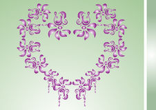 Card with floral heart. Card with heart-shaped floral decoration. Vector illustration Stock Photography