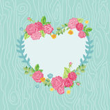 Card with Floral Heart Wreath Stock Photography