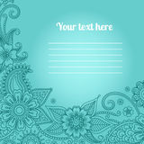 Card with floral paisley pattern Stock Image