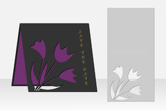 Card with floral pattern for laser cutting. Silhouette design. Stock Photo