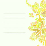 Card with floral patterns. Card with yellow ornament based oh hops flowers and leaves Royalty Free Stock Image