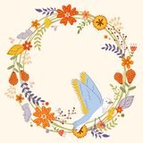 Card with floral wreath and bird Stock Image