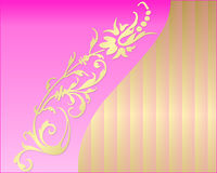 Card with a flower. On pink and golden background vector illustration
