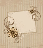 Card with flower. Grunge brown card with flower and drop Royalty Free Stock Photo