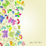 Card with flower and butterflies Royalty Free Stock Photography