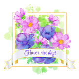 Card with flower in Frame with Have A Nice Day on ribbon. vector Illustration Royalty Free Stock Photography