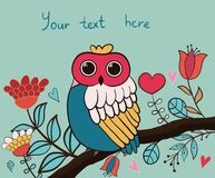 Card flower, owl Stock Image