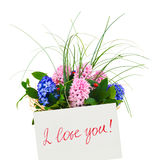 Card and flowers Stock Photo