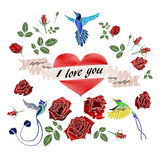 Card with flowers, birds and heart Stock Photography