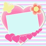 Card with flowers and butterflies in pastel colors. With hearts on a striped background Royalty Free Stock Photos