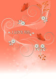 Card with flowers and butterflies to Valentine's Day. Stock Photos