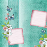 Card with flowers and butterfly Stock Images