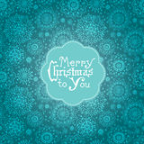 Card with flowers and Christmas lettering Stock Photos