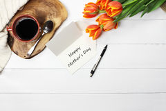 Card Flowers and Coffee Stock Photography