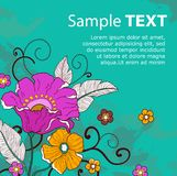 Card with flowers_grunge_ Stock Photo