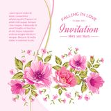 Card with flowers. Invitation card template with flowers of peonies. Vector illustration Stock Images