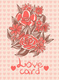 Card with flowers and love hearts on a pink background vanilla Royalty Free Stock Photography