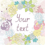 Card with flowers in a round label with place for your text Royalty Free Stock Images