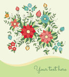Card with flowers Stock Image