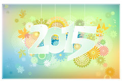 Card 2015 with flowers Royalty Free Stock Photos
