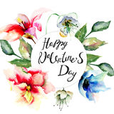 Card with flowers Stock Images