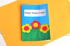 Card with flowers and words Happy mother's day - kids paper crafts Stock Image