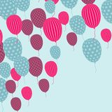 Card with flying balloons in retro style Royalty Free Stock Photo