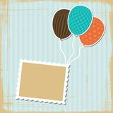 Card with flying balloons in retro style Stock Images